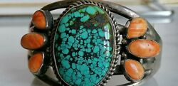 Navajo Sterling Silver Bracelet With Wide Turquoise And Spiny Oyster