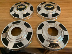 1977-87 Chevy 3/4 Ton K20 Truck 4x4 12 Dog Dish Hubcaps Oem Set Of 4 Used Chevy