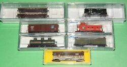 Lot Of 7 Canadian National Cnr Freight Cars + 1 Caboose N-scale