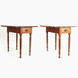 Vintage Traditional Maple Twin Drop Leaf End Tables Single Drawer