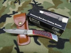 Buck Knife 110 Red Bone Damascus Mint In Orig. Box W/sheath And Papers 1989