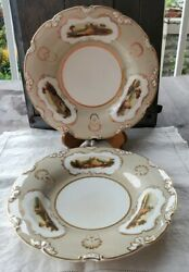 Pair Of Antique Celadon And Gilt Derby Plates Handpainted Panels