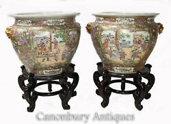 Pair Cantonese Porcelain Planters On Stands - Chinese Urn China