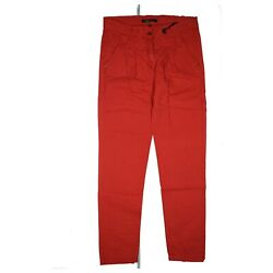 Emoi By Emonite Women's Chino Jeans Trousers Slim Size 42 High Waist W32 L32 Red