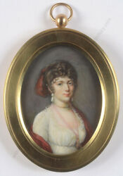 Franandccedilois Nicolas Mouchet 1749-1814 Lady In White High Quality Miniature