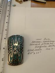 Vintage Hand Made Silver Plate Bolo Native American W/ Turquoise Inlay