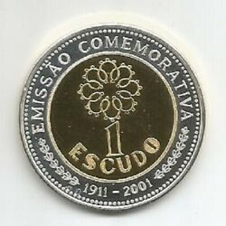 Portugal Medal 1 Escudo 90 Years Of The Shield 1911 - 2001 Silver And Gold Pla