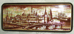 Russian Lacquer Box Mother Of Pearl Fedoskino Old Moscow Kremlin Hand Painted