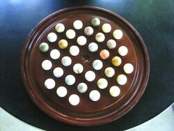 Vintage Bombay Co Solitaire Marble Game Cherry Wood Board 36 Agate Marbles 1991