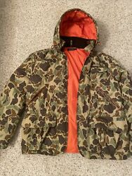 Polo Ralph Lauren Duck Camo Hunting Jacket Large Removable Hoodie EUC