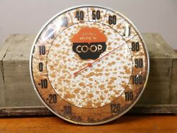 Vintage 1960s Farm Bureau Co-op Gas Station 12 Metal And Glass Thermometer Sign