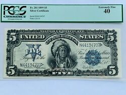 1899 5 Silver Certificate Chief Pcgs 40 Extremely Fine Fr. 280m Mule