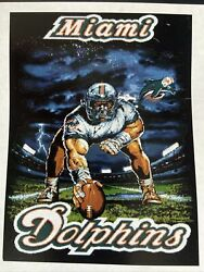 """Miami Dolphins Nfl Woven Tapestry Throw Blanket - 48""""x 60"""" - Vintage"""