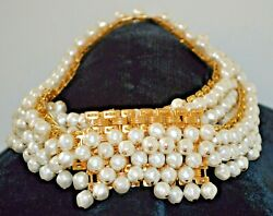 Christian Dior Pearl Gold Plated Belt Necklace 1980s Chain Link Dangling
