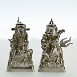 2 Figural Signed Chinese Export Silver Salt And Pepper Shakers Snuff Box Opium Sl