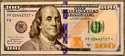 Fancy Repeater 2017-a 100 Star Note Low Serial Rare Uncirculated 00442727