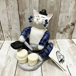 2001 Annaco Creations Amy Lacombe Playing Drums Whimsiclay Cat Figurine