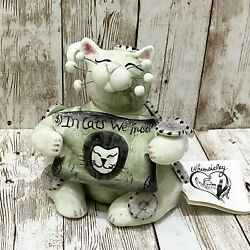 """2002 Annaco Creations Amy Lacombe WHIMSICLAY Cat Figure """"IN CATS WE TRUST"""" Money"""