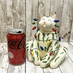 """2002 Annaco Creations Amy Lacombe Whimsiclay Christmas Large Cat Figure """"sparkie"""