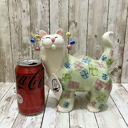 """Retired 2002 Annaco Creations Amy Lacombe Whimsiclay Large Cat Figure """"gifts"""""""