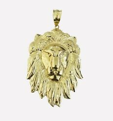 10kt Yellow Gold Lion Head Pendant Mens Charm 4 With 28 Rope Chain