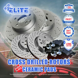 Front + Rear Cross Drilled Rotors And Ceramic Brake Pads For 2012-2015 Audi S4