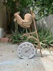 Vintage Garden Wall Thermometer Indoor Outdoor Wrought Iron Ornamental Rustic