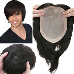6x8 Mens Toupee Real Hair Silk Base Hair System Replacement Straight Hairpiece