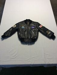 Rare Alpha Industries Aviator Bomber 100 Leather Size 2t Toddler Boys Jacket