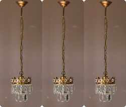 Three Matching Antique Crystal Chandeliers,vintage Pendant Kitchen Lighting Lamp
