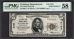1929 5 Safety Fund Nb Fitchburg Ma Pmg 58 Single Digit Serial Number 1 Ch2153