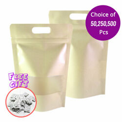 7x11in Kraft Paper Mylar Matte Stand Up Zip Lock Bag W/ Hang Hole And Desiccant