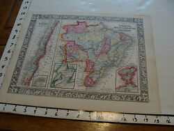 Vintage Map 1860 Mitchell Map Of Chile Brazil Bolivia Paraguay Uruguay