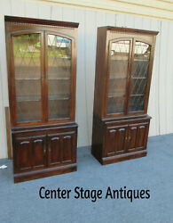 62390  Pair Ethan Allen Cabinets With Bookcase Tops