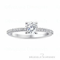 0.90 Ct Natural Diamond Solitaire Engagement Ring G/si2 Round 14k White Gold