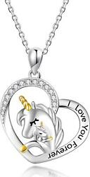 Unicorn Necklace Gifts For Women Girl - Sterling Silver Cute Unicorn In