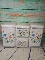 Vintage New Old Stock Cheinco Tin Metal Kitchen Canisters Tulip 🌷 Floral