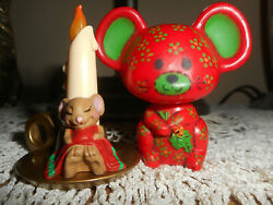 Hallmark Merry Miniatures Christmas 1977 Calico And 1985 Mouse Vintage