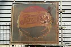 Vintage 1930and039s Double Dot Pepsi Sign Not Coca Cola Or 7up 31 X 27 A Survivor