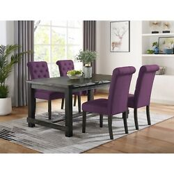 Leviton Antique Black Finished Wood Dining Set, Table With Purple Four Chair