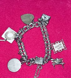 Vintage Sterling Silver Bracelet 6 Beau Sterling Charms Double Thick Link Chain