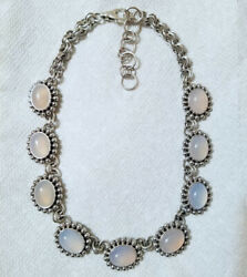 Artie Yellowhorse Native American Navajo Blue Peach Chalcedony Sterling Necklace