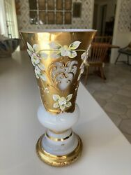 Bohemian White glass w gilt encrusted painted flowers crystalex