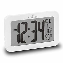 Commercial Grade Panoramic Autoset Atomic Digital Wall Clock With Table White