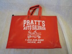 Vintage Pratts Auto Salvage Zipper Handled Carrying Case Bag Red White Vinyl Ark