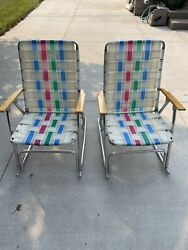 2 Vintage Aluminum Folding Lawn Chairs Matching Pair Woven Webbed Rocking Camp