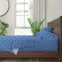 Blue And White Mosaic Tile Nautical 100 Cotton Sateen Sheet Set By Roostery