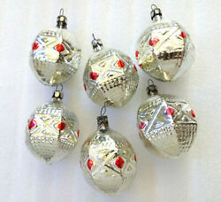 6 Vintage Russian Glass Christmas Xmas USSR Fir tree Decorations Old Ornaments