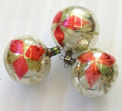 3 Vintage Russian Glass Christmas Xmas USSR Tree Decorations Old Ornaments Balls