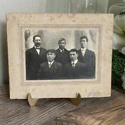 Antique Black And White Photo Cabinet Card 5 Gentlemen From East Angus Quebec
